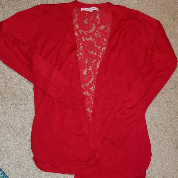 Modcloth Sweaters - Red lace-back cardigan